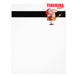 teachers rule female teacher cartoon letterhead