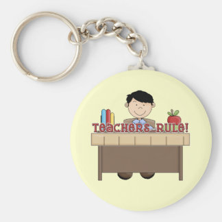 Teachers Rule - Male Tshirts and Gifts Basic Round Button Keychain