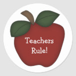 Teachers Rule!-Red Apple Round Stickers