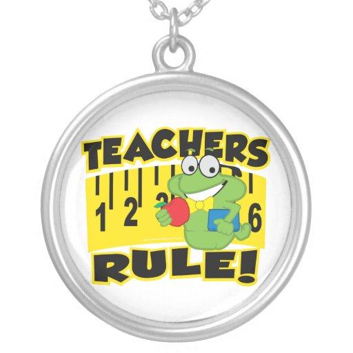 Teachers Rule! Round Pendant Necklace