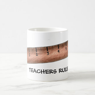 Teachers Rule Wooden Ruler Math Teacher Gift Mug