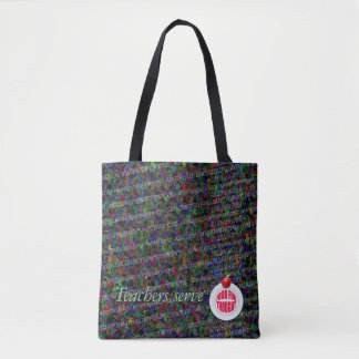 Teachers serve food for thought. tote bag