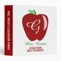 Teacher's Shiny Apple 3 Ring Binder