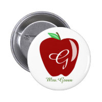Teacher's Shiny Apple Pinback Button