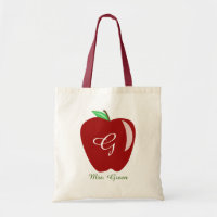 Teacher's Shiny Apple Tote Bag
