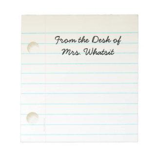 Teachers Students Notebook Paper Notepad
