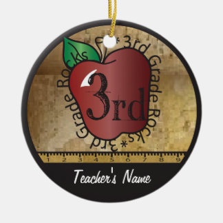 Teacher's Vintage Style 3rd Grade | Chalkboard Ceramic Ornament