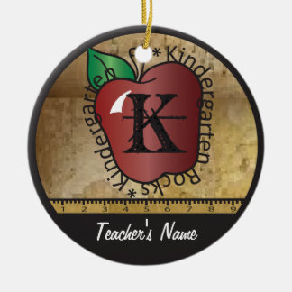 Teacher's Vintage Style Kindergarten | Chalkboard Ceramic Ornament