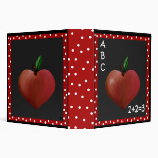 Teacher's Whimsical Heart Apple Binder