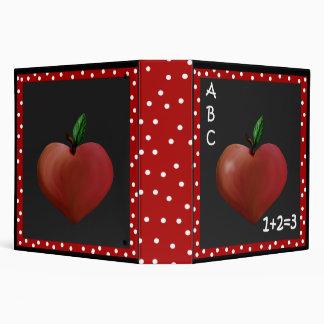 Teacher's Whimsical Heart Apple Binder