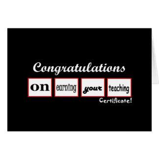 Teaching Certificate CUSTOM NAME Congratulations - Card