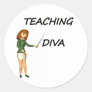 TEACHING DIVA CLASSIC ROUND STICKER
