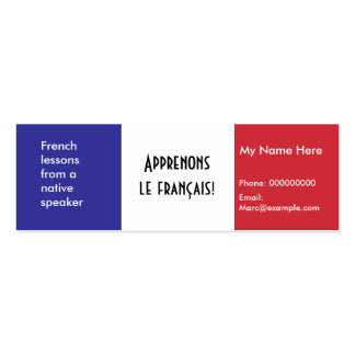 Teaching French Language -- Advertising Cards Business Card Template