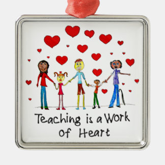 Teaching is a Work of Heart Square Metal Christmas Ornament