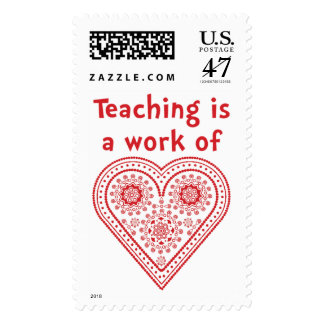 Teaching is a work of heart - Postage Stamp