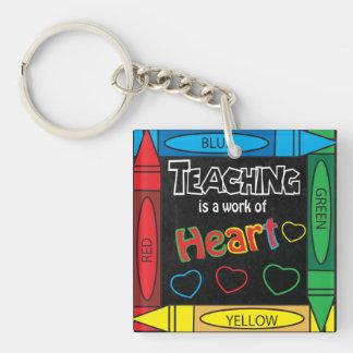 Teaching is a work of heART   Teachers Single-Sided Square Acrylic Keychain