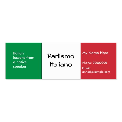 Teaching Italian Language -- Advertising Cards Business Card Templates