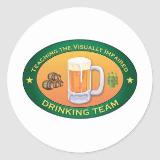 Teaching the Visually Impaired Drinking Team Round Sticker