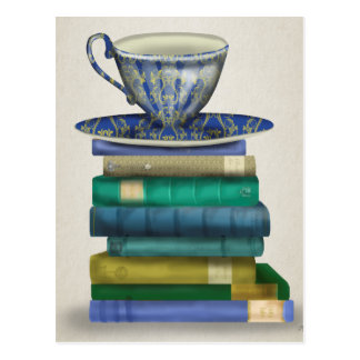 Teacup and Books 3 Postcard