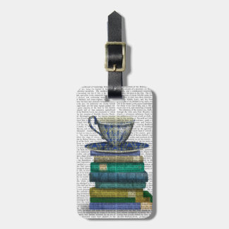 Teacup and Books Luggage Tag