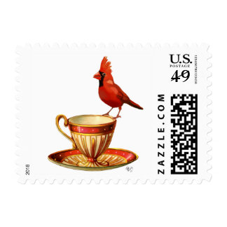 Teacup And Red Cardinal Postage