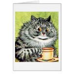 Teacup Cat Note Card by Louis Wain