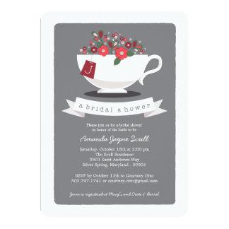 Teacup Coral Floral Monogram Bridal Shower Card
