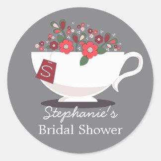Teacup Coral Floral Monogram Bridal Shower Sticker