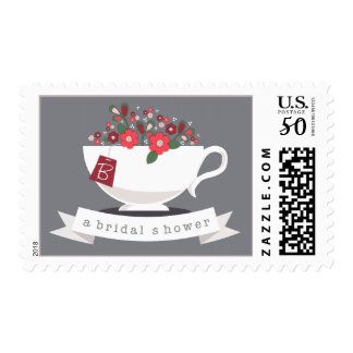 Teacup & Coral Floral Personalized Bridal Shower Postage