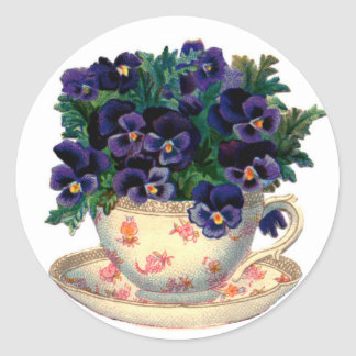 Teacup Flowers Classic Round Sticker