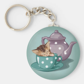 Teacup Kitten Basic Round Button Keychain