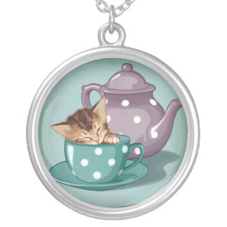 Teacup Kitten Silver Plated Necklace