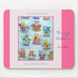 Teacup Kittens Mousepad (rose background)