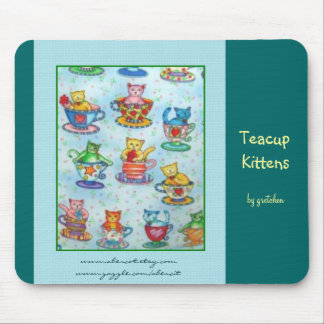 Teacup Kittens Mousepad (teal background)