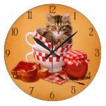 teacup kitty wall clocks