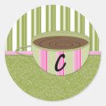 Teacup Monogram C Classic Round Sticker
