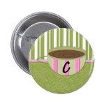 Teacup Monogram C Pinback Buttons