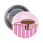 Teacup Monogram N Pinback Button