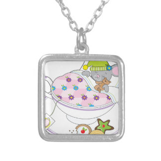 Teacup Mouse Silver Plated Necklace