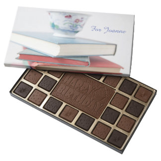Teacup on book stack birthday assorted chocolates