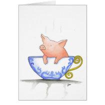 Teacup Pig Print Card