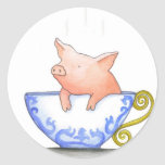Teacup Pig Print Classic Round Sticker