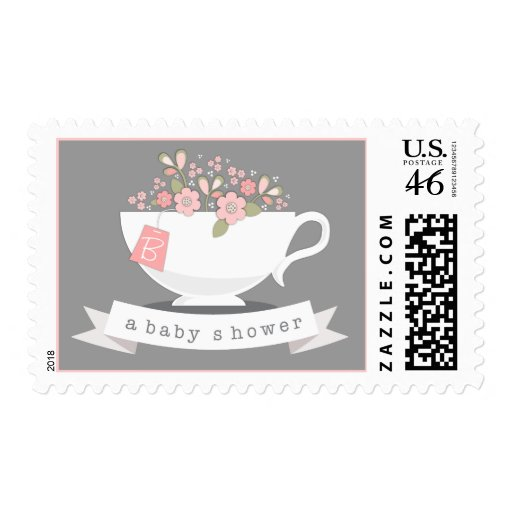 Teacup & Pink Floral Personalized Baby Shower Stamp