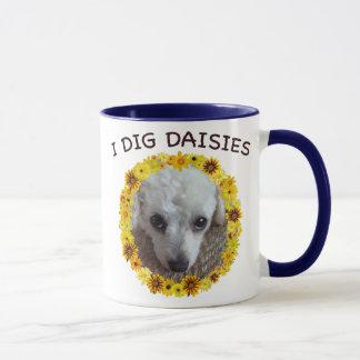 Teacup Poodle Dog Digs Daisies Mug