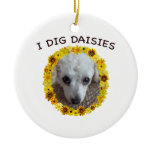 Teacup Poodle Dog Digs Daisies Double-Sided Ceramic Round Christmas Ornament