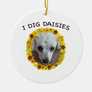 Teacup Poodle Dog Digs Daisies Christmas Ornaments