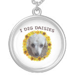 Teacup Poodle Dog Digs Daisies Round Pendant Necklace