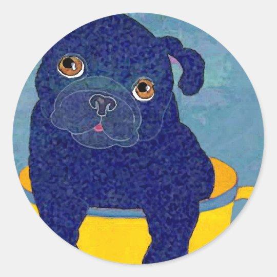 Teacup Pug Classic Round Sticker