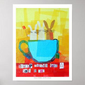 Teacup Rabbits Take a Bath in Tea Print