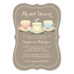Teacup Trio Chic Bridal Shower Tea Party 5x7 Paper Invitation Card